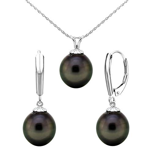 14k White Gold 10-10.5mm Black Off-shape Tahitian Cultured Pearl Pendant and Lever-back Earrings, 18