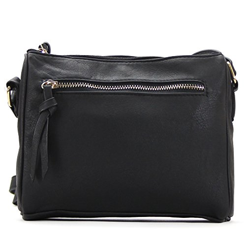 Pop Fashion Black Crossbody Bag for Women Multi-Pocket with Zippers from Pop Fashion