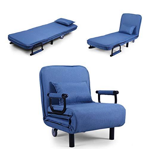 Bed Arm Sofa (JAXPETY Blue Sofa Bed Folding Arm Chair 25.6