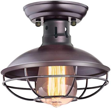 CHICLUX Industrial Semi Flush Mount Ceiling Light Metal Cage Pendant Lighting Fixture Oil Rubbed Bronze Light for Hallway Kitchen Garage Porch Bathroom