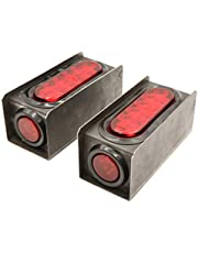 PEAKTOW PTL0434 Trailer Truck Steel Light Boxes with 6 Inches LED Red Oval Tail Light & 2 Inches LED Red Round Side Lights–Pack of 2