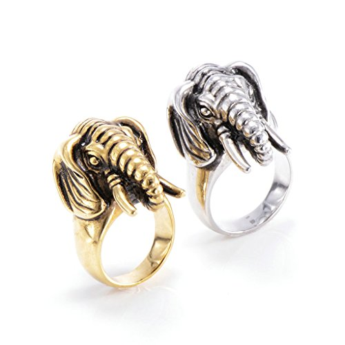 [Men's 316L Stainless Steel Elephant Vintage Punk Biker Ring Silver Size 8] (Boss Hog Costume)