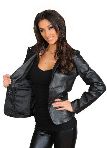 Pour Femmes Mesdames Italien Les Veste Cuir Aménagée Classique Véritable En Blazer Style Noir Gabrielle PwqZzWgw