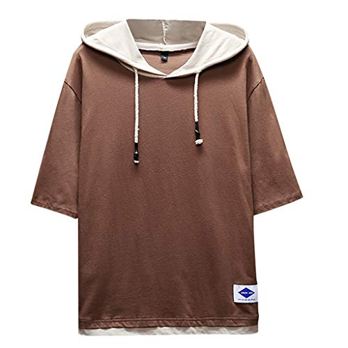 (TOPUNDER Men's Summer Fashion Casual Patchwork Hoodie T-Shirts Short Sleeves Top Blouse Coffee)