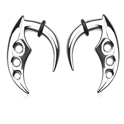 (Pair of Curved Triple Hole Stainless Steel Ear Stretching Hanger Tapers w/Black O-Rings - 4 Gauge)