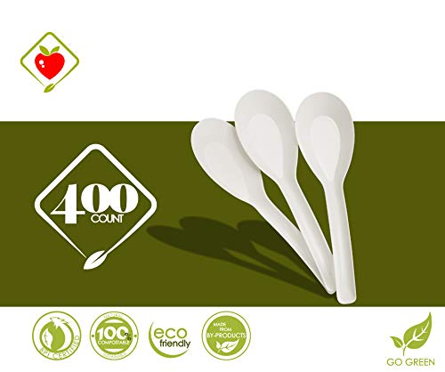 """[400 COUNT] Mini 4.5"""" Compostable Chinese Soup Spoons Disposable Cornstarch Oriental Japanese Ramen Noodles Miso Pho Tapas Sample Appetizer Wonton (4.5 inch Long, Sustainable Cutlery Made of Corn)"""