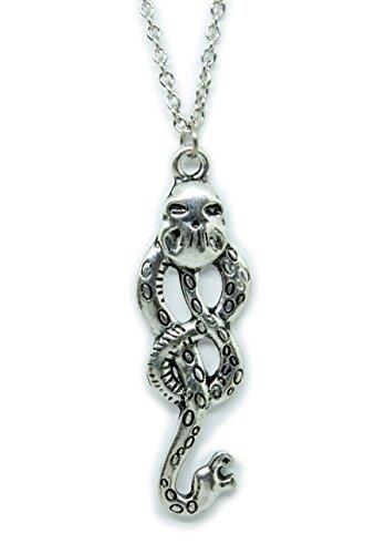 (Harry Potter Necklace - Dark Mark Skull & Snake Pendant - Lord Voldemort and Death Eaters Symbol - USA Seller)