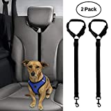 BWOGUE 2 Packs Dog Cat Safety Seat Belt Strap Car Headrest Restraint Adjustable