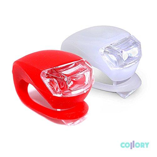 COLLORY ► mini LED Fahrradlampen Set: Rücklicht und Frontlicht aus Silikon einfache Montage. Clip-On Sicherheitsbeleuchtung für unterwegs, Blinklicht, Fahrradlicht