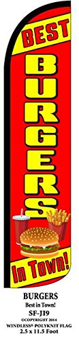 Best Burgers In Town Windless Swooper Feather Banner Flag Sign