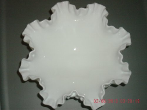 Fenton Hobnail Ruffled Footed Bowl 7 1/2 Round Approx. 3 1/2 High