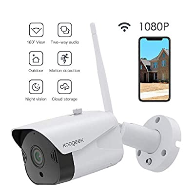 Outdoor Security Camera, Koogeek 1080P WiFi Camera Surveillance Cameras Compatible with Alexa, Bullet Camera with Two-Way Audio, IP65 Waterproof, Night Vision,Motion Detection for iOS/Android