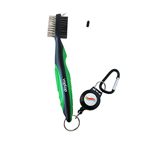 Golf Club Cleaner Brush (Golf Brush and Club Groove Cleaner - Easily Attaches to Golf Bag - Deep Clean Iron Grooves - Cleaning Club Face - Bag Clip & Retractable Extension Cord & Perfect)