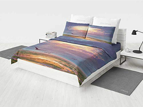 Fantasy Art House Decor brib Bedding Set Golden Sun Beams Break Through Storm Clouds Skyline Flying Gulls Printing Four Pieces of Bedding Set Blue Orange -
