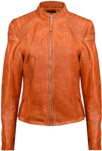 Nappa Leather Biker Jacket - Ladies Brando Orange Quilted LeatherBiker Jacket
