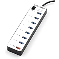 FranLyon 8 port 3.0 usb hub 7port usb hub +1 charger port with switch (black and white)
