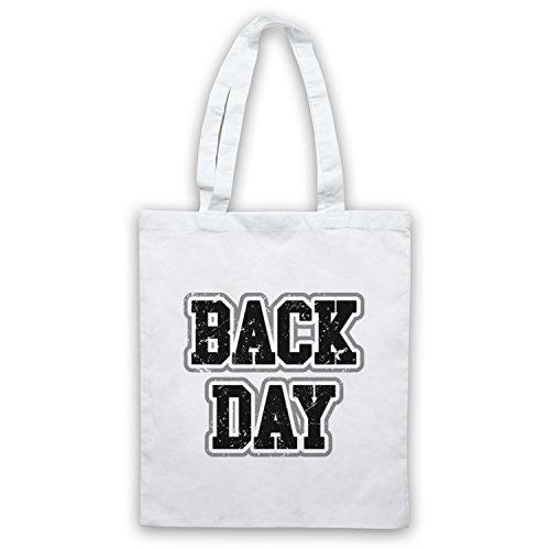Back Day Bodybuilding Workout Slogan Bolso Blanco