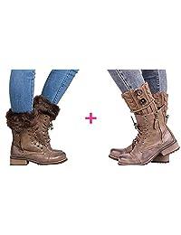 LIWEIKE Womens Short Boots Socks Crochet Knitted Boot Cuffs Leg Warmers Socks