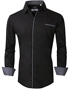 Mens Button Down Shirts Regular Fit Long Sleeve Cotton Casual Dots Dress Shirts