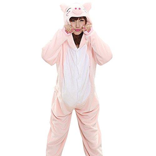Women's Girls Adult Cartoon Cute Piggy Pajamas Home Wear Set Costume Plush One Piece Cosplay Nightgown Animal Costume (XL, Adult)