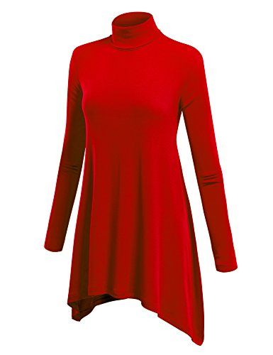 - WT994 Womens Turtleneck Sweater Tunic With Shark Hem XXXL Red