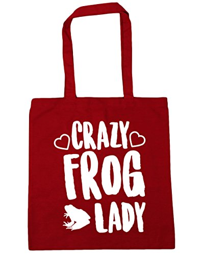 x38cm Tote 10 litres Bag Beach 42cm HippoWarehouse frog lady Classic Shopping Gym Red Crazy wFCxqz