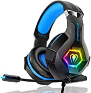 Gaming Headset PS4 Headset Pro 7.1 Surround Sound Noise Canceling Flexible Mic with 2pcs Mic Cover RGB LED Lig