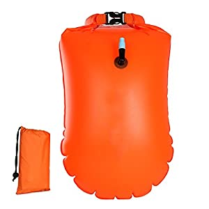 Swimming Buoy, Thicken Swim Buoy Swimming Auxiliary Bag Drifting Ball with Waterproof Storage Bag for Open Water Swimmers Triathletes Snorkelers (Orange)