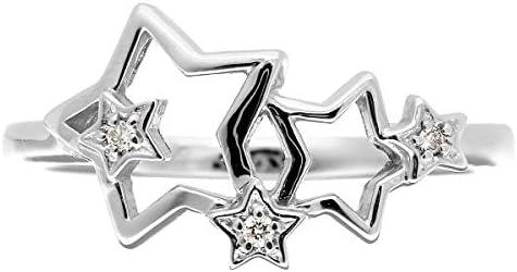 ダイヤモンド リング シルバー Silver925 指輪 4号 ピンキーリング 星 スター 天然 ダイヤ 日本製
