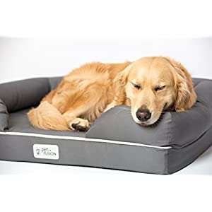 "PetFusion Ultimate Solid 4"" WATERPROOF Memory Foam Dog Bed for Medium & Large Dogs (36x28x9"" orthopedic dog mattress; Gray). Replacement covers & blankets also avail"
