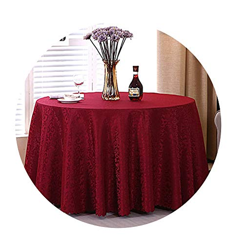 COOCOl Great 1Pc Multi Size White Polyester Hotel Dinner Table Cloth Round Washable Gold Crocheted Floral Tablecloth,Wine Red,Round 280Cm (Wreaths Kohls)
