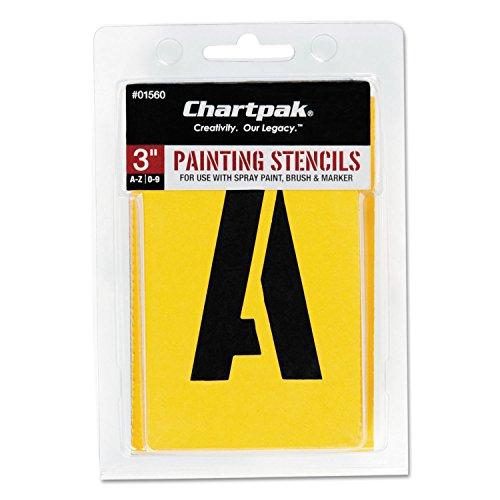 CHARTPAK/Pickett 1560 Painting Stencil Set, A-Z Set/0-9, Manila, 35/Set
