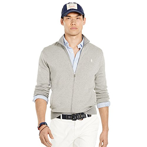 (Ralph Lauren Pima Cotton Full-Zip Sweater (X-Large, LT Grey Stripe))