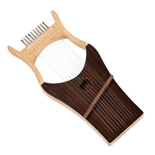 Flameer Mahogany 10 String Harp Kit with Tuning Key&Bag Musical Stringed Instrument by Flameer