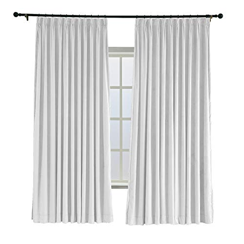 TWOPAGES 52 W x 84 L Pinch Pleated Curtains Room Darkening Velvet Curtain Drapery Panel for Traverse Rod Or Track, Living Room Bedroom Meetingroom Club Theater Patio Door (1 Panel), Off White