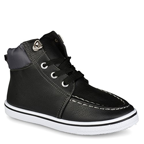 Next Shoes Kids ([C9102-BLK-9] Boys High Top Sneakers: Workboot Style Tennis Shoes, Moc Toe, Size 9)