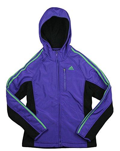 adidas Big Girl's Full Zip Polar Fleece with Hoodie (Small (7/8), Blast Purple) ()