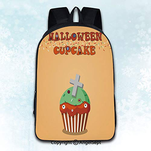 (Elegant Rucksack with Two Carrying Ways,Cute happy halloween mint cupcake with grave cross and monster e Multicolor 16 inches,Anti-Theft)