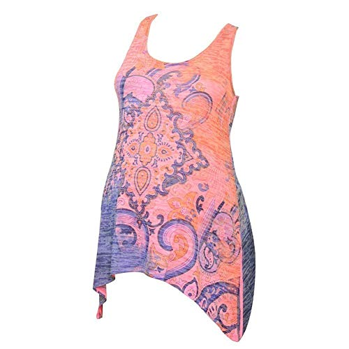 Love My Belly Women's Coral Contrast Art Deco Print Maternity Tank Top S/M ()