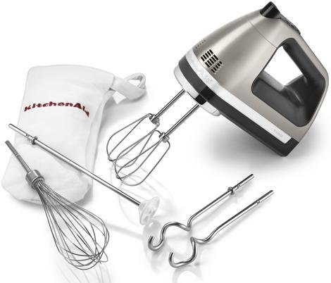 kitchenaid 9-Speed Hand Mixer Beautiful silver almost metal color KHM920ACS + Dough hooks/Whisk/Rod/Bag Silver Package great for Stainless Steel Kitchen Appliences. by KitchenAid