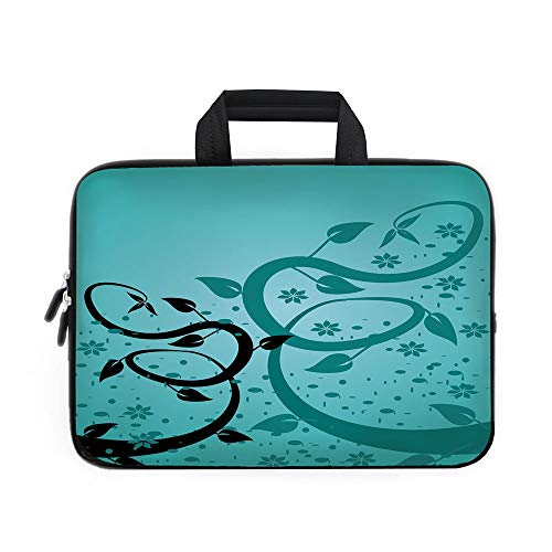 Teal Laptop Carrying Bag Sleeve,Neoprene Sleeve Case/An Abstract Floral Arrangement Nature Winding Tendrils Design Flora Drawing Style Decorative/for Apple Macbook Air Samsung Google Acer HP DELL Leno