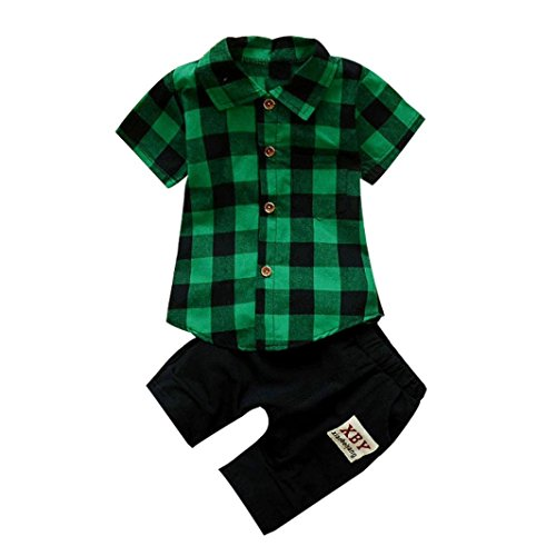 Minisoya Fashion Toddler Kids Baby Boy Plaid T-Shirt Lapel Button Tops+Shorts Pants Summer 2Pcs Outfits Clothes Set (Green, - Toddler Designer