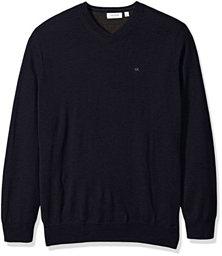 Calvin Klein Men's Big and Tall Merino Solid V-Neck Sweater, Roma, 2X-LARGE B