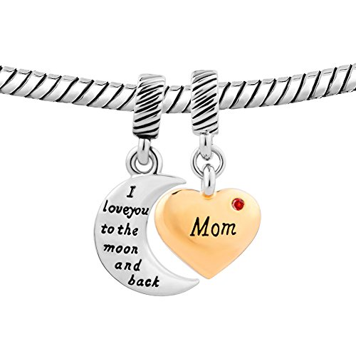 Mom Heart I Love You To The Moon And Back Charms Jewelry New Sale Cheap Beads Fit Pandora Charm Bracelet
