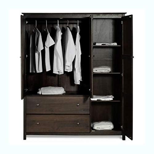(HEATAPPLY Espresso Wood Finish Bedroom Wardrobe Armoire Cabinet Closet)