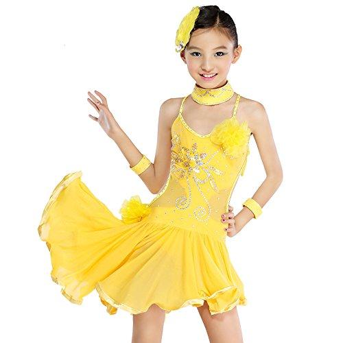 Da Ragazze Moderna Schienale Vestito Bambino Senza Giallo Latino Bozevon Paillettes Prestazioni Costume Pratica Ballo Concorrenza Danza xYWBq5WT
