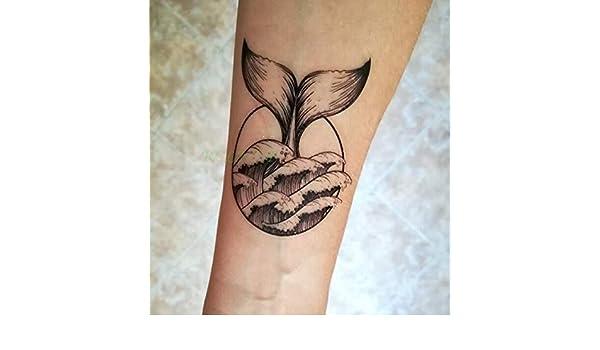 tzxdbh 3 Unids Impermeable Tatuaje Temporal Ola de Mar Ballena de ...