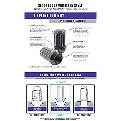 Wheel Accessories Parts Install Kit - Truck Spline 1.90 Long - M14 1.5 (6 Lug)(Blk)(Lugs Only)(1 PC): Automotive