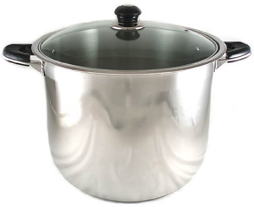 NEW 12-QUART HEAVY-GAUGE STAINLESS STEEL (18/10) STOCK POT W/ GLASS LID COVER