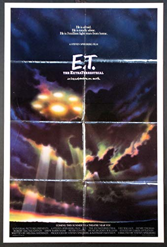 E.T. THE EXTRA-TERRESTRIAL STEVEN SPIELBERG 1982 SPACESHIP ORIGINAL ADVANCE 27X41 ONE SHEET MOVIE POSTER